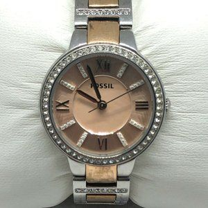 Fossil Women Stainless Steel Rose Dial Watch XR119